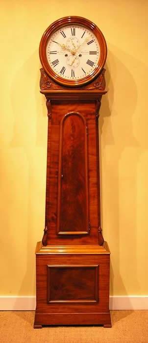 Scottish Longcase Clock Drumhead Mahogany