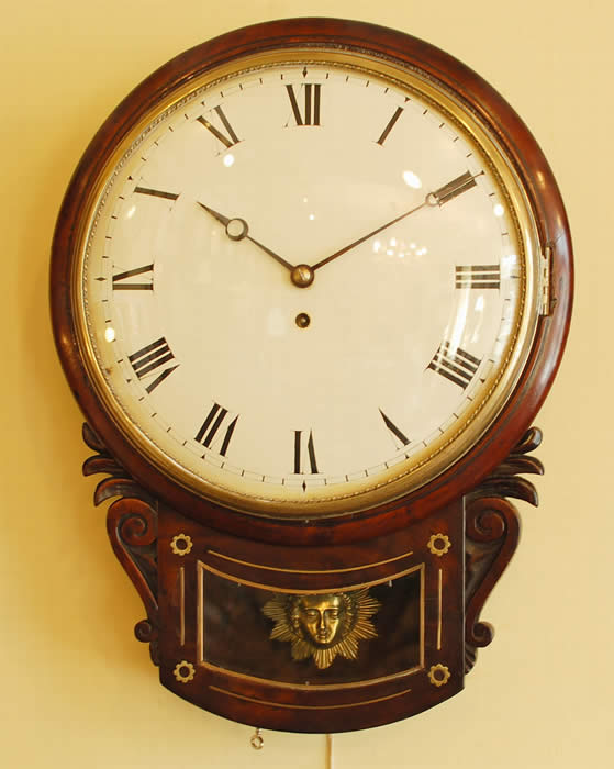 William IV drop dial wall clock fusee movement