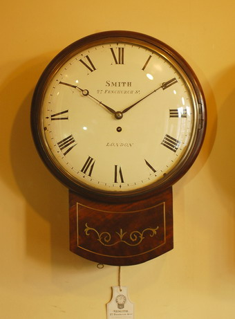 Smith London Fusee Wall Clock Brass Inlay
